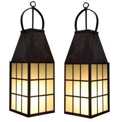 Pair of huge metal and glass indoor / outdoor lanterns