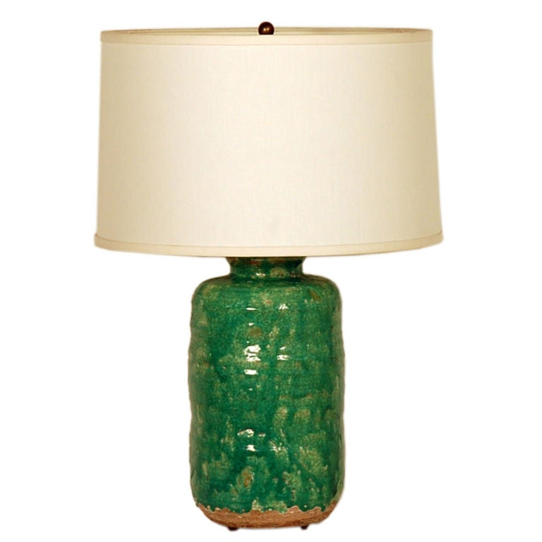 italian marbro ceramic lamp with custom white linen shade at 1stdibs. Black Bedroom Furniture Sets. Home Design Ideas