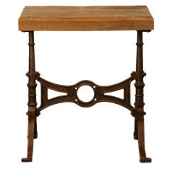 Heavy cast iron industrial console / gueridon with wood slab top