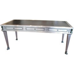 Brushed Metal and Bronze, Egyptian Revival Desk