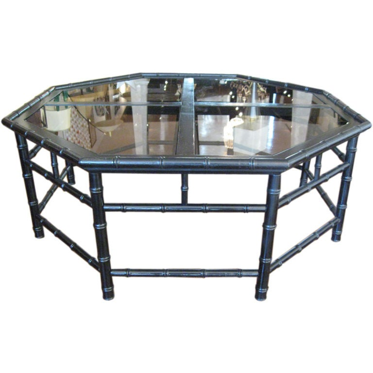 Octagonal Faux Banboo Coffee Table At 1stdibs