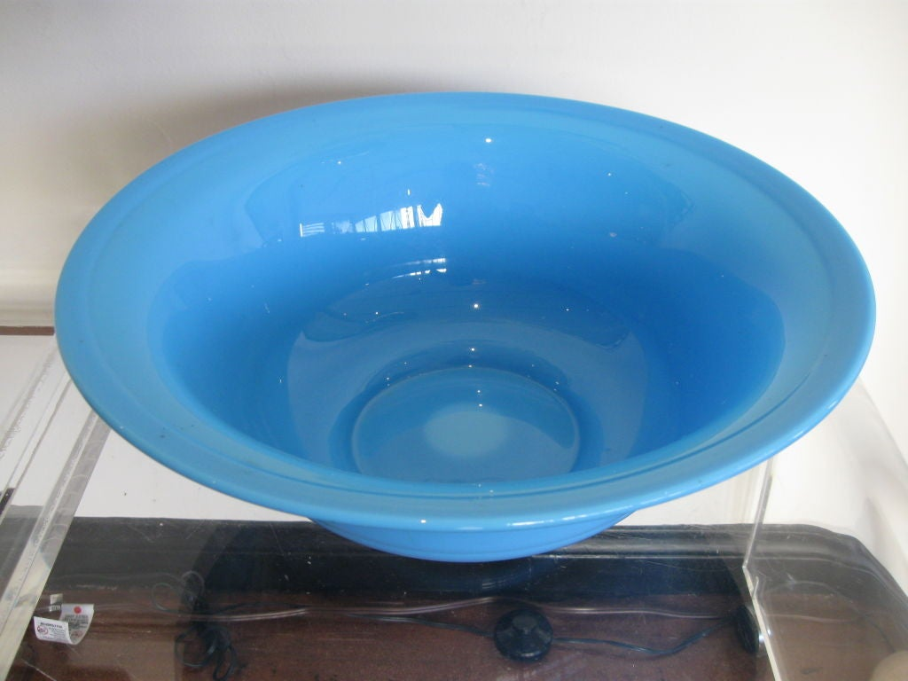 BLUE OPALINE GLASS BOWL image 6