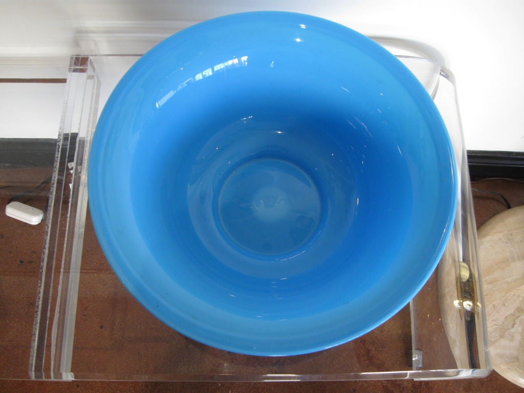 BLUE OPALINE GLASS BOWL image 7