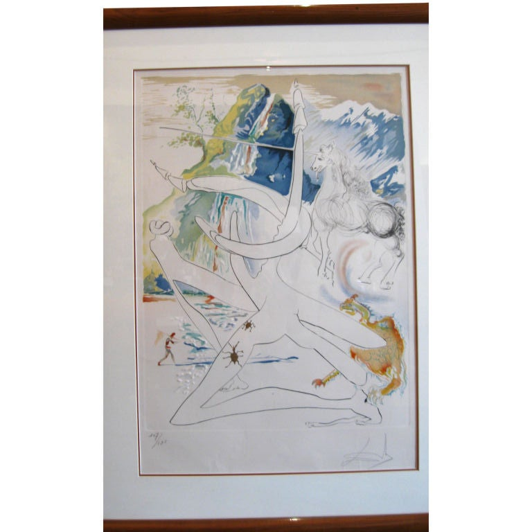 """ BLUE UNICORN"" LITHOGRAPH BY SALVADOR DALI"