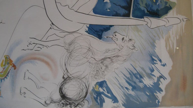 """"""" BLUE UNICORN """" LITHOGRAPH BY SALVADOR DALI. NUMBERED 107/195 ON BOTTOM LEFT. SIGNED ON BOTTOM RIGTH."""