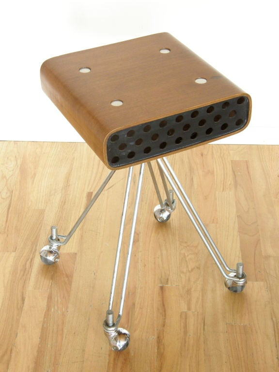 Originally designed as an equipment stand by Noyes for I.B.M. this makes a great occasional table or phone stand. Noyes was an important presence in the field of industrial design and architecture for over 30 years. Working for The M.O.M.A., Walter