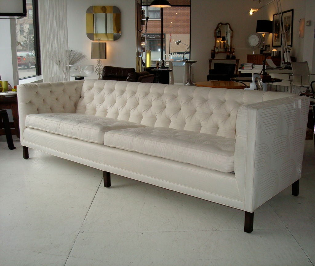 Slipcover Tuxedo Sofa: Tufted Elegant Tuxedo Style 8 Ft Long Chic Sofa At 1stdibs