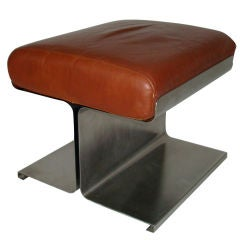 Francois Monnet Steel and Leather Stool