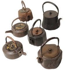 Collection of Six Japanese Tetsubin/Sake Pots