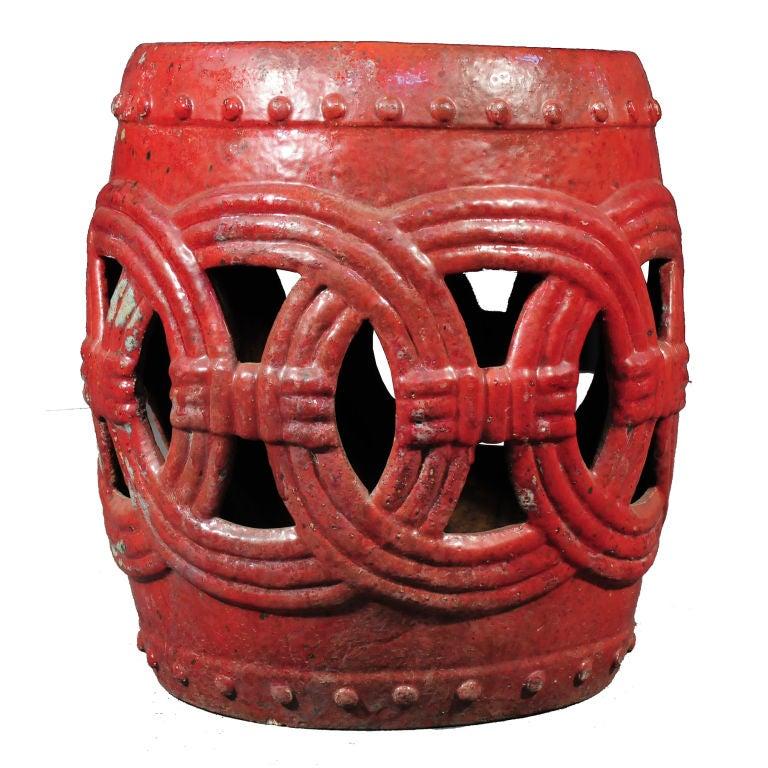Red Glazed Garden Stool