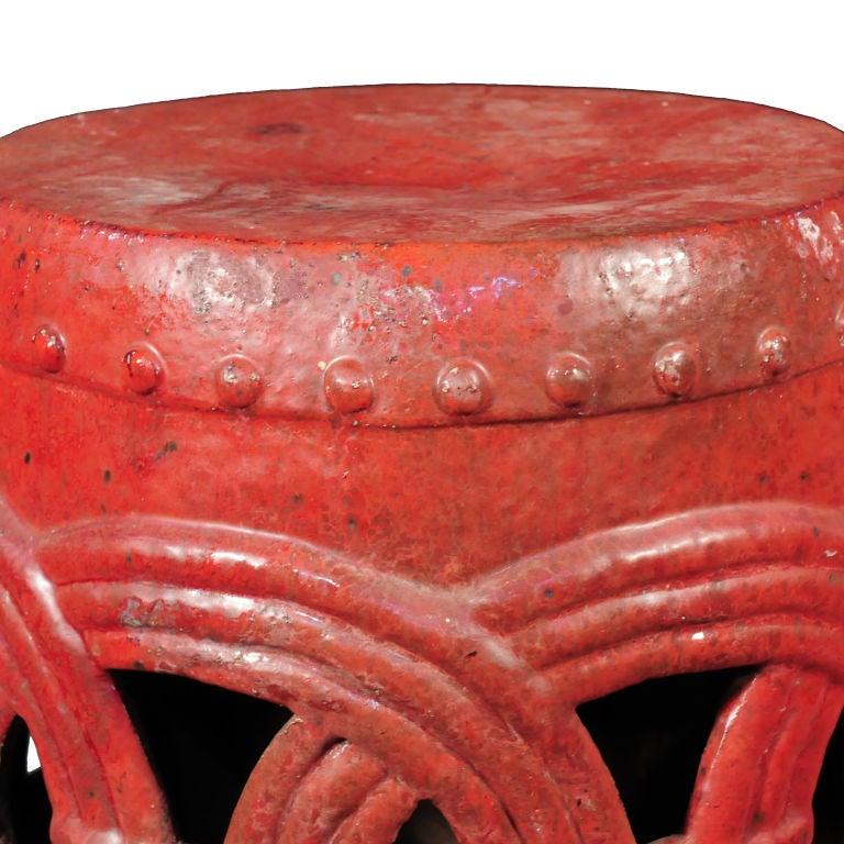 Red Glazed Garden Stool image 2