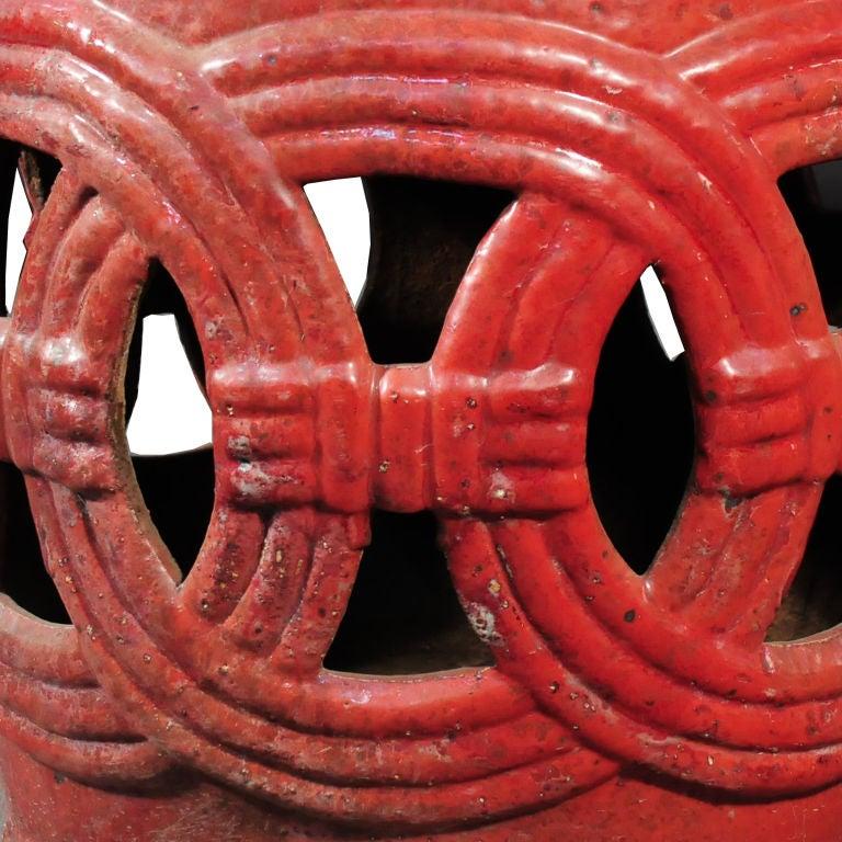 Red Glazed Garden Stool image 3