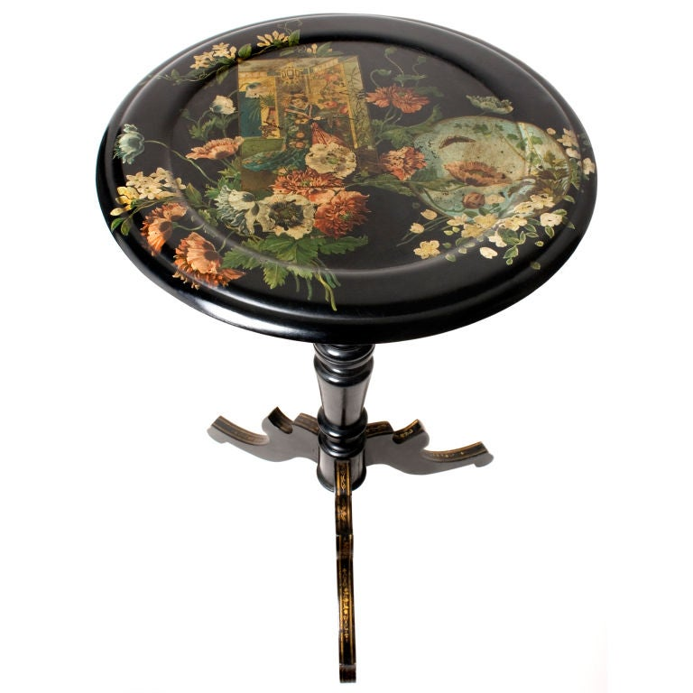 Flip Top Victorian Decoupage Table At 1stdibs
