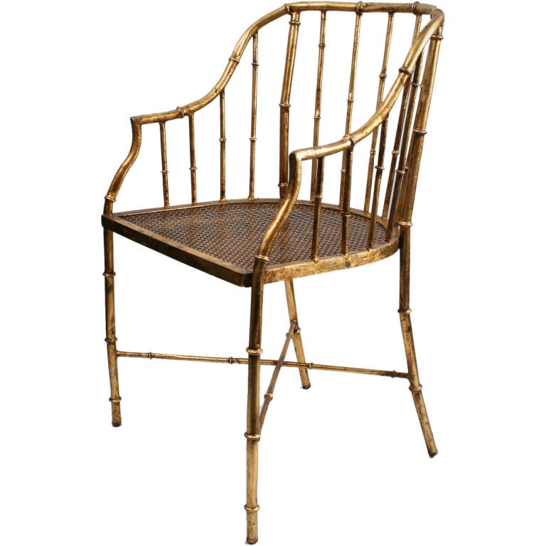 Italian Gold Leafed Metal Chair With A Bamboo Motif At 1stdibs