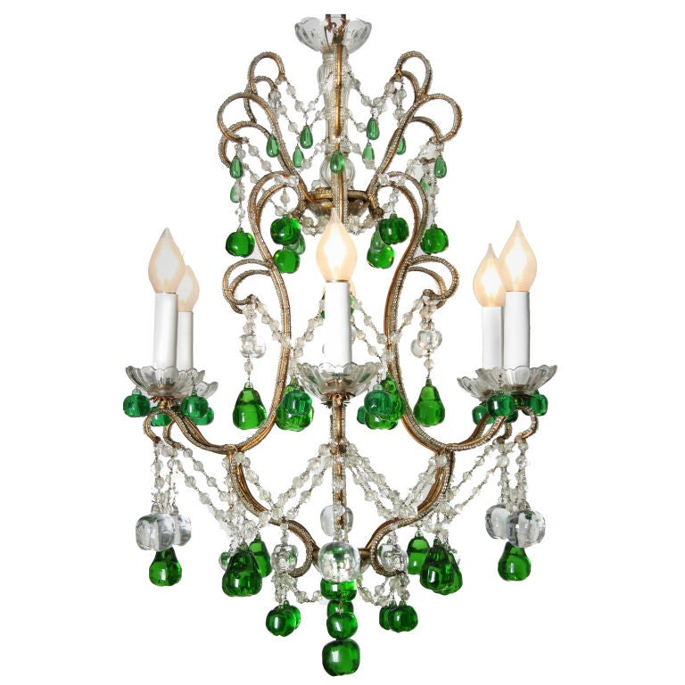 Crystal Chandelier Accented with Green Crystal Apples and ...