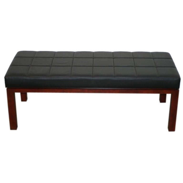Black Leather Tufted Bench At 1stdibs