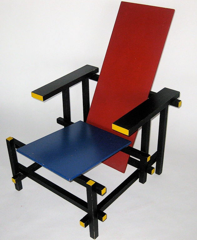 RED and BLUE LOUNGE CHAIR BY GERRIT RIETVELD at 1stdibs