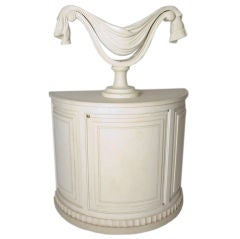 Demi-Lune Painted Cabinet with Separate Carved Wood Urn on Top