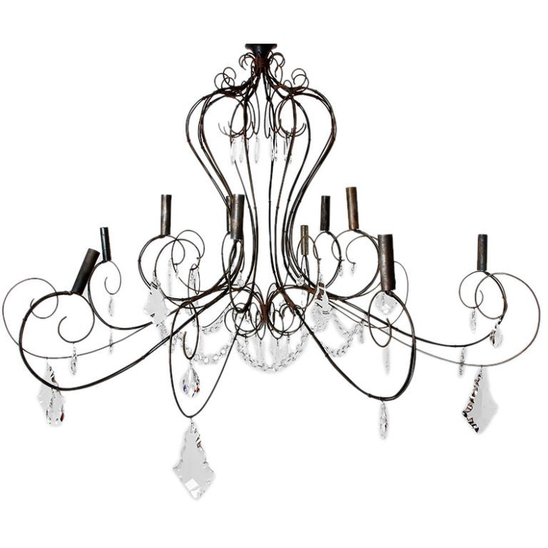 french wire and crystal chandelier at 1stdibs