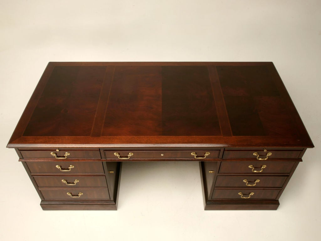 Vintage American Mahogany English Style Executive Desk At