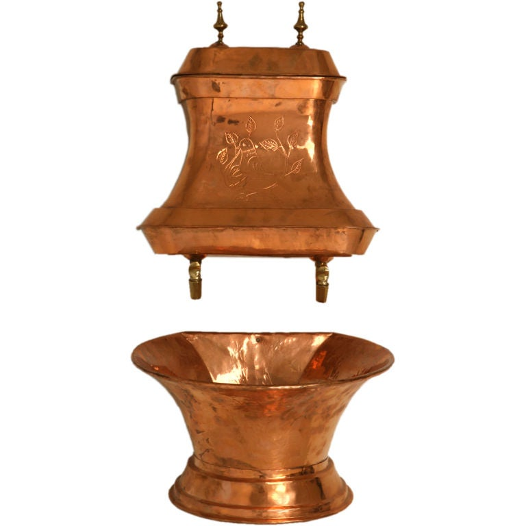 original french copper lavabo w brass accents at. Black Bedroom Furniture Sets. Home Design Ideas
