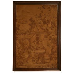 """c.1920 French Framed """"Boys Night Out"""" Tapestry"""