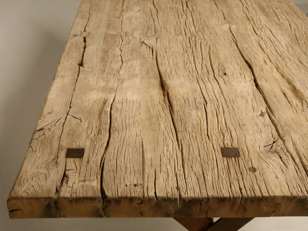 Rustic Steel And French White Oak Farm Table At 1stdibs