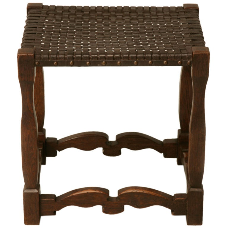 C 1930 English Oak And Woven Leather Stool At 1stdibs
