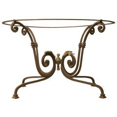 c.1920 French Hand-Wrought Iron Table Base w/Brass Leaves