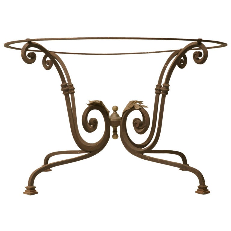 C 1920 French Hand Wrought Iron Table Base W Brass Leaves