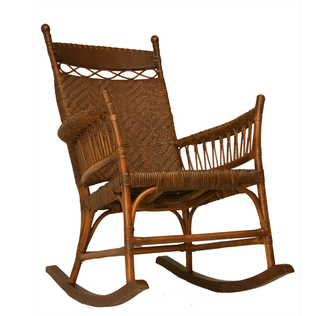 C american hickory oak and rattan rocking chair at