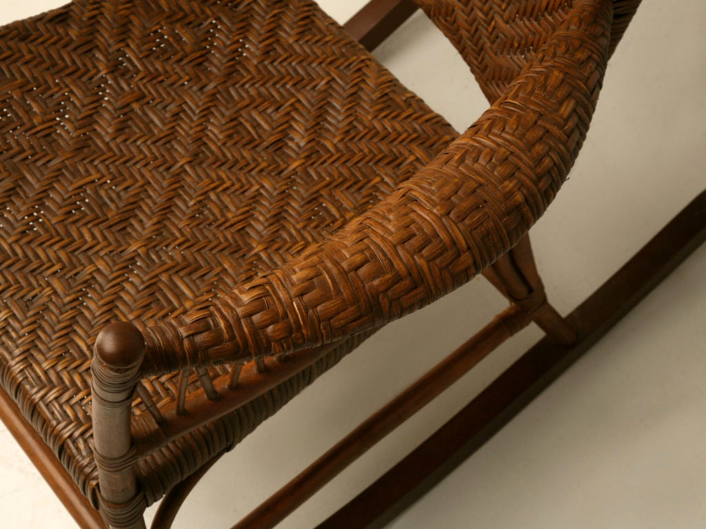 C 1920 American Hickory Oak And Rattan Rocking Chair At