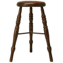 c.1890 Antique English Oak Tavern Stool w/Iron Stretcher