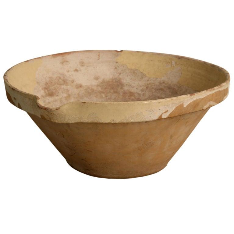 c.1890 Antique French Glazed Terracotta Tian/Bowl