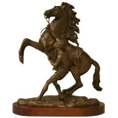 19th C. Bronze Horse and Lad Figural Relief by Coulston