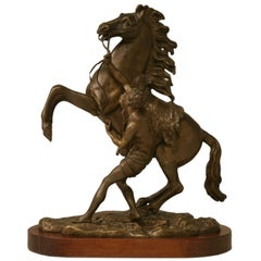Antique French Bronze Horse and Lad Figural Relief by Coulston, circa 1890