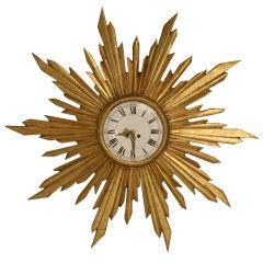 French Water Gilded Sunburst Clock, circa 1890