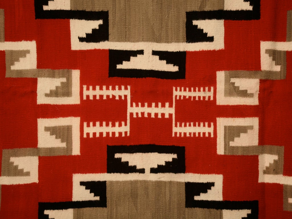 C 1940 Navajo Ganado Pattern Rug From Klagetoh Az For