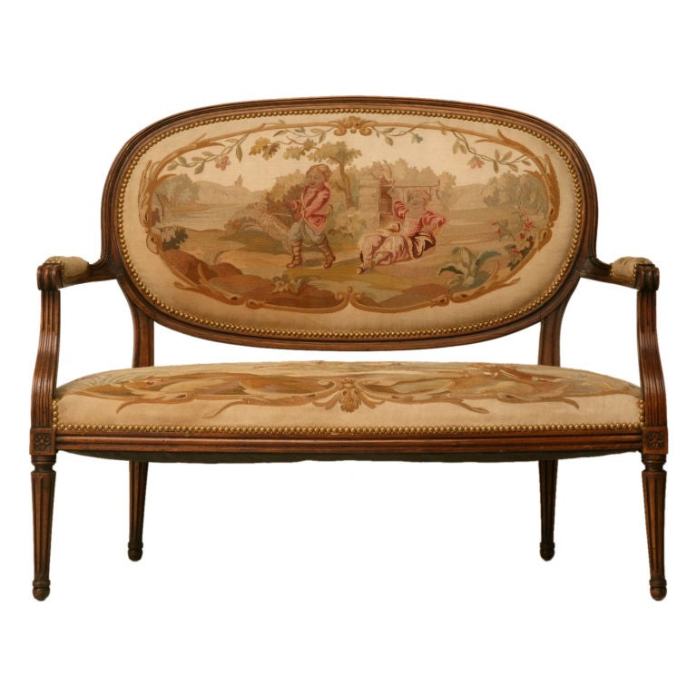 Petite 18th Century French Louis XVI Settee with Original Aubusson Upholstery