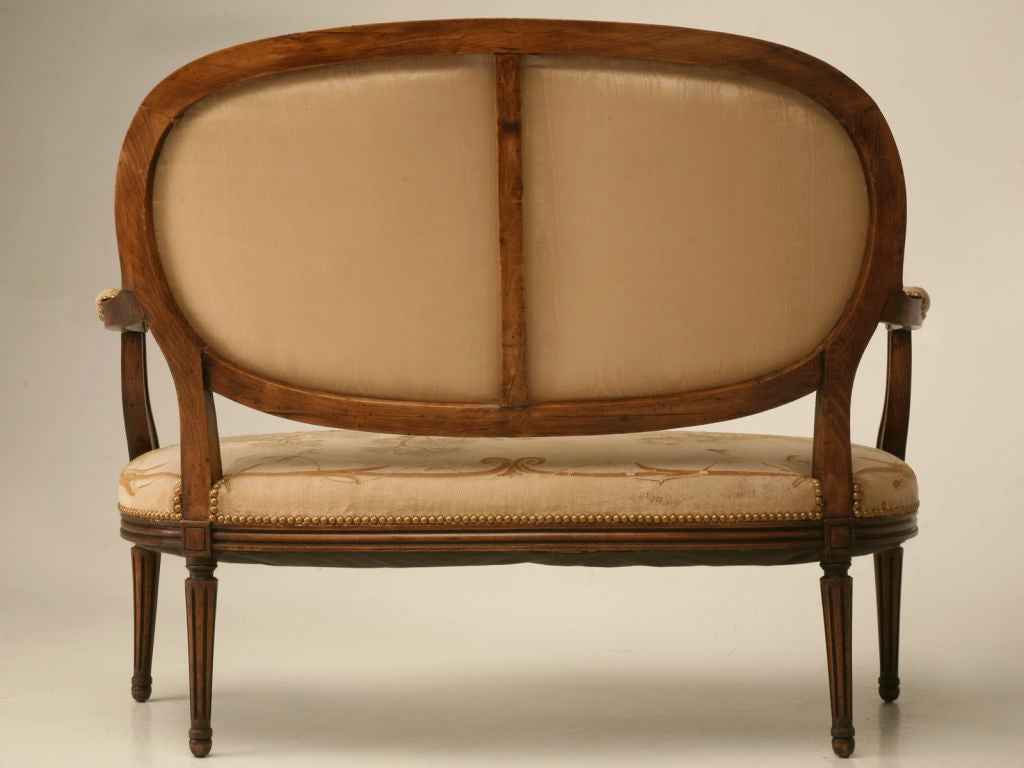 Petite 18th Century French Louis XVI Settee with Original Aubusson Upholstery For Sale 5