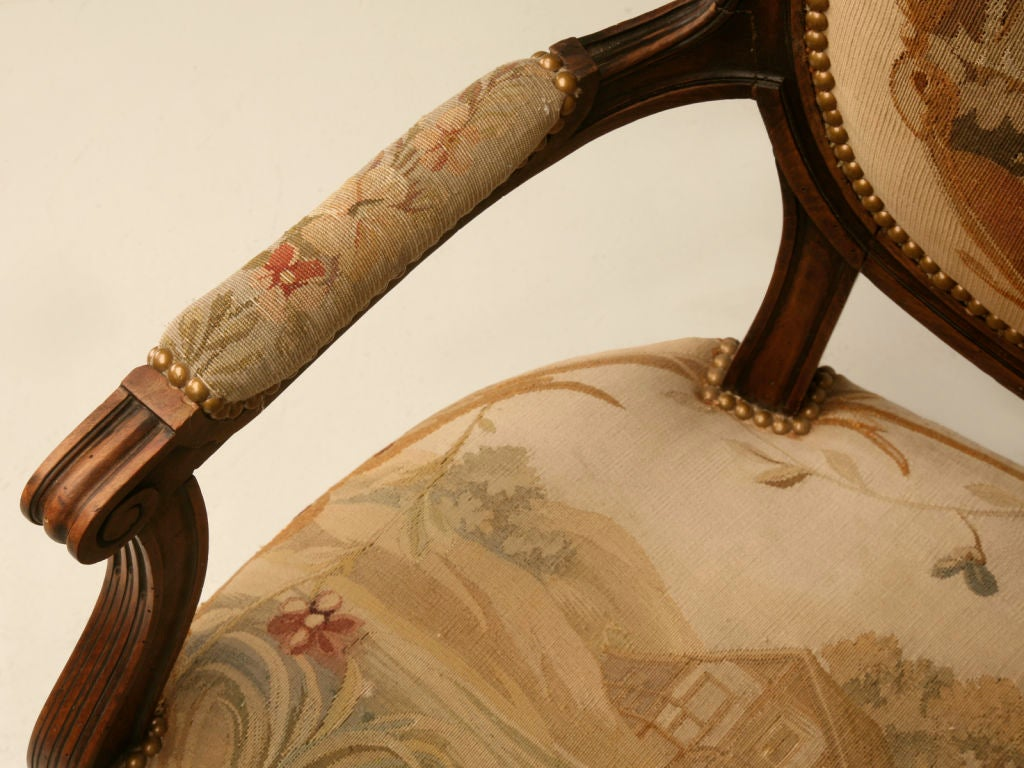 18th Century and Earlier Petite 18th Century French Louis XVI Settee with Original Aubusson Upholstery For Sale