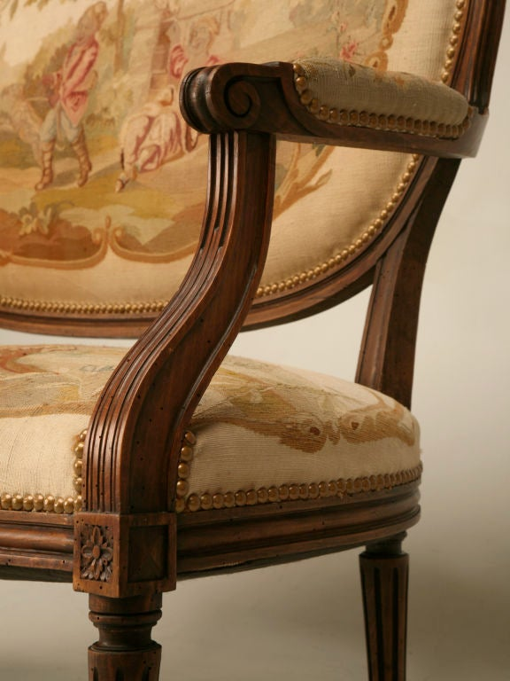 Fruitwood Petite 18th Century French Louis XVI Settee with Original Aubusson Upholstery For Sale