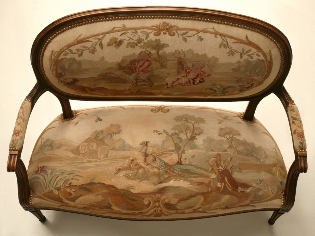 Petite 18th Century French Louis XVI Settee with Original Aubusson Upholstery For Sale 2