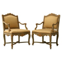 Antique Italian Painted Louis XV Style Armchairs in Original Paint