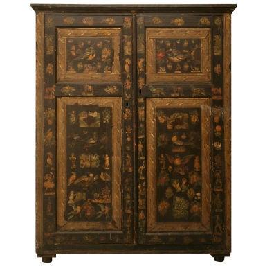 Handmade Country English Folk Art Découpage Cupboard