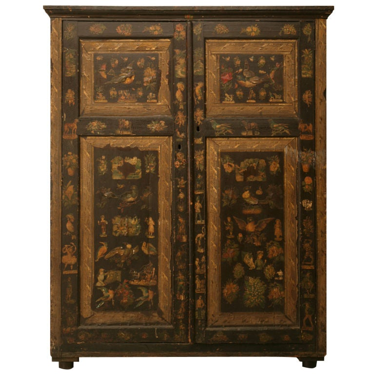 Handmade Country English Folk Art Découpage Cupboard For Sale
