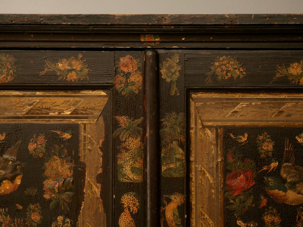18th Century and Earlier Handmade Country English Folk Art Découpage Cupboard For Sale