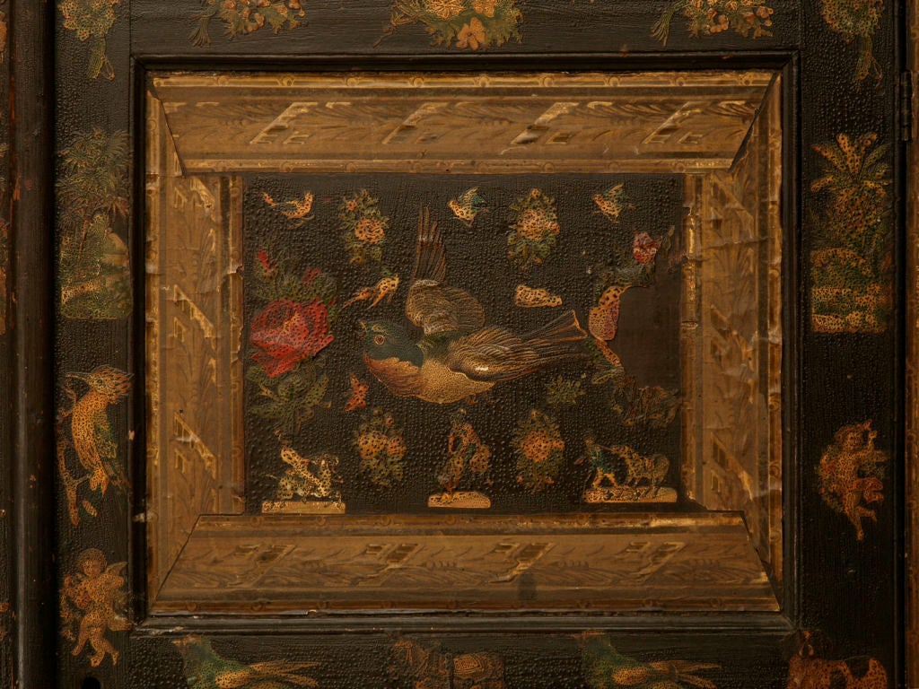 Handmade Country English Folk Art Découpage Cupboard For Sale 1