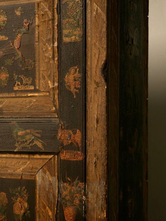 Handmade Country English Folk Art Découpage Cupboard For Sale 2
