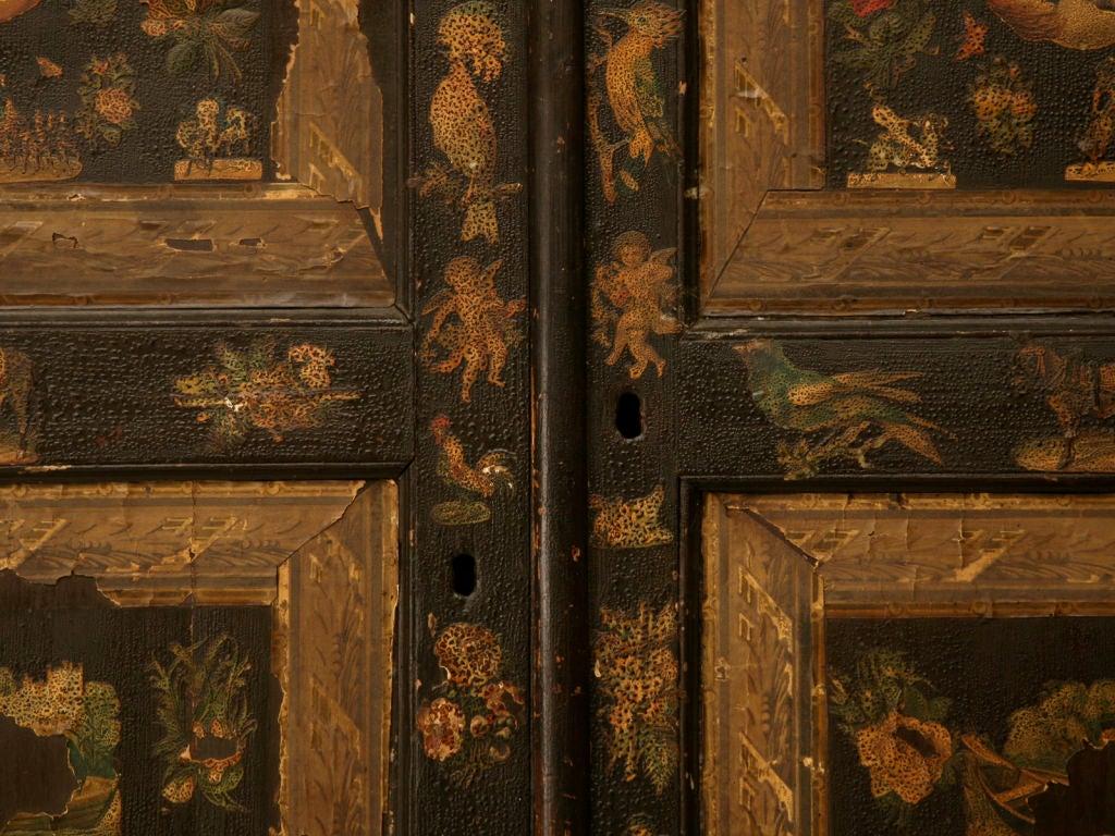 Handmade Country English Folk Art Découpage Cupboard For Sale 3